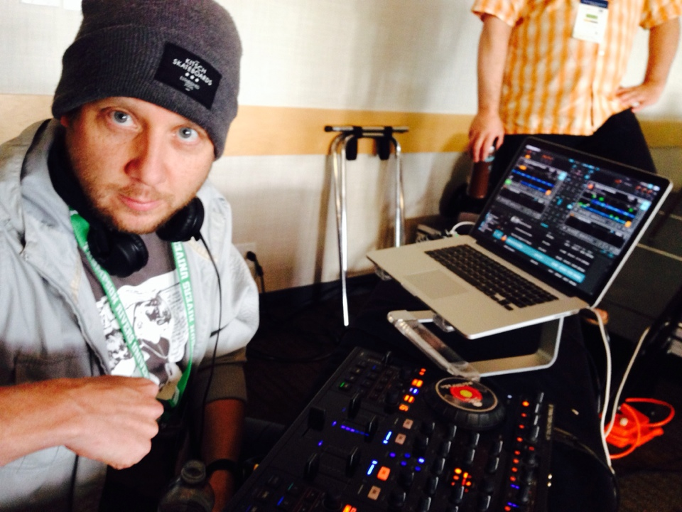 """Jason prepping to DJ the morning keynote"" by D'Arcy Norman"